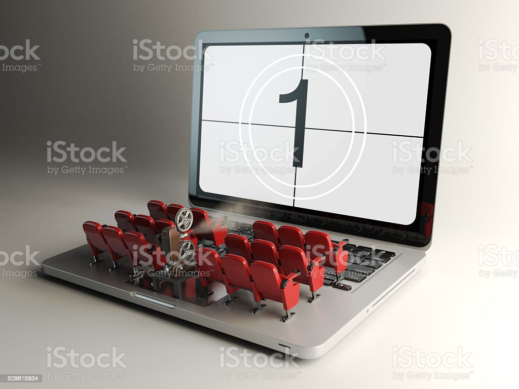 Video player application  or home cinema concept. Laptop and row stock photo