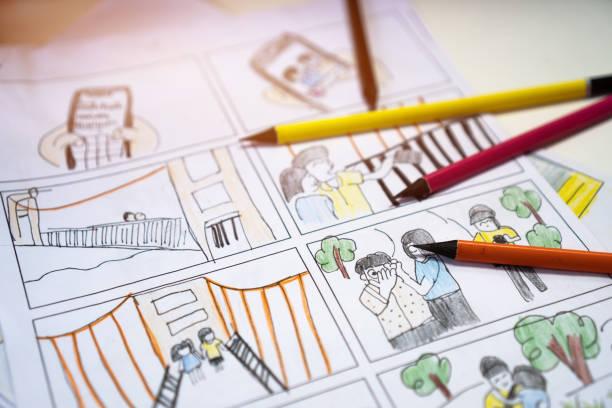 video-vorproduktion für film film storyboard konzept : farbe bleistift zeichnung story board animation comic-karton, design kreative szene layout im studio. hinter prozessarbeit vor der produktion von filmen - comic stock-fotos und bilder