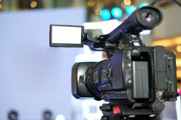 Videoproduktion Kamera Aufnahme live-Event auf der Bühne. Fernsehen-social-Media broadcasting Seminar Konferenz – Foto