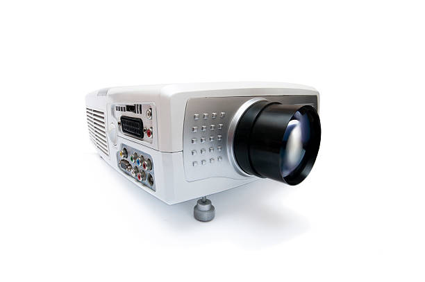 Video projector Video projector isolated on white background overhead projector stock pictures, royalty-free photos & images