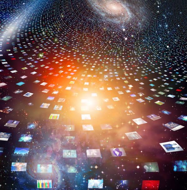 Video screens stock photo