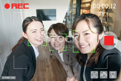 istock Video selfie. Facial recognition system of video camera. Interface of mobile camera app. 929982390