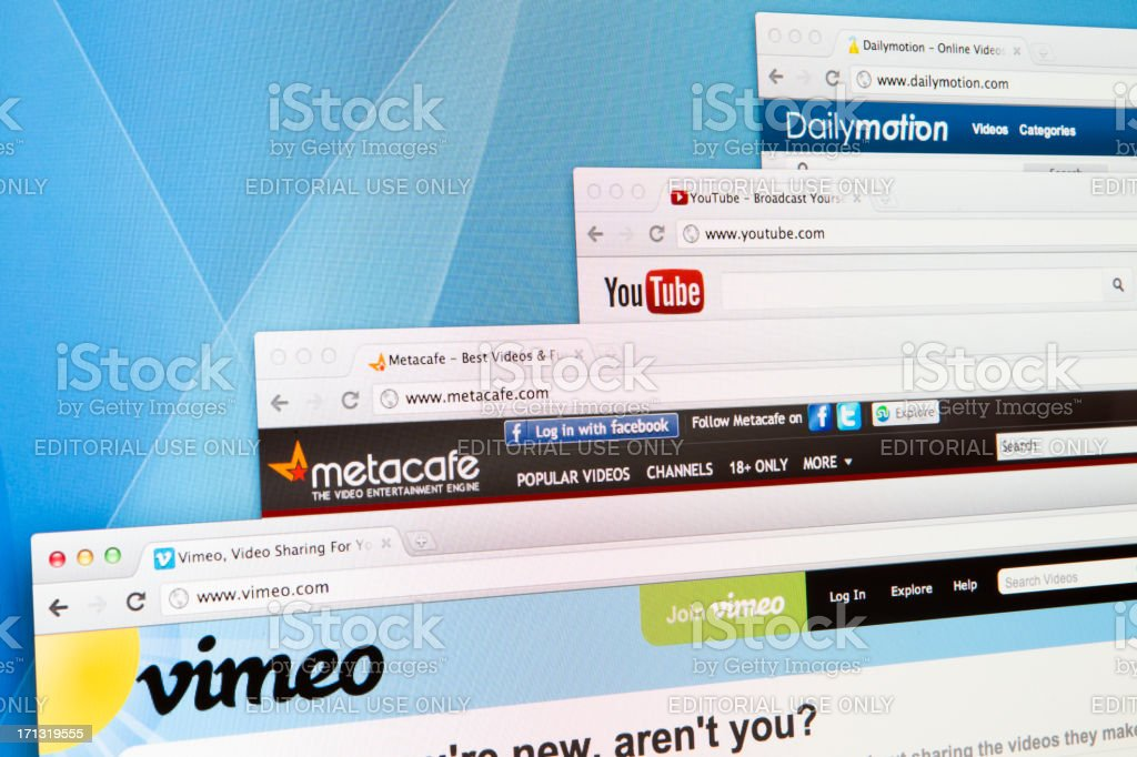 Video Sharing websites on computer screen royalty-free stock photo