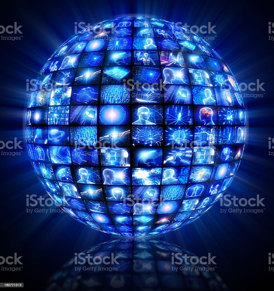 Video sphere of hi-tech screens stock photo