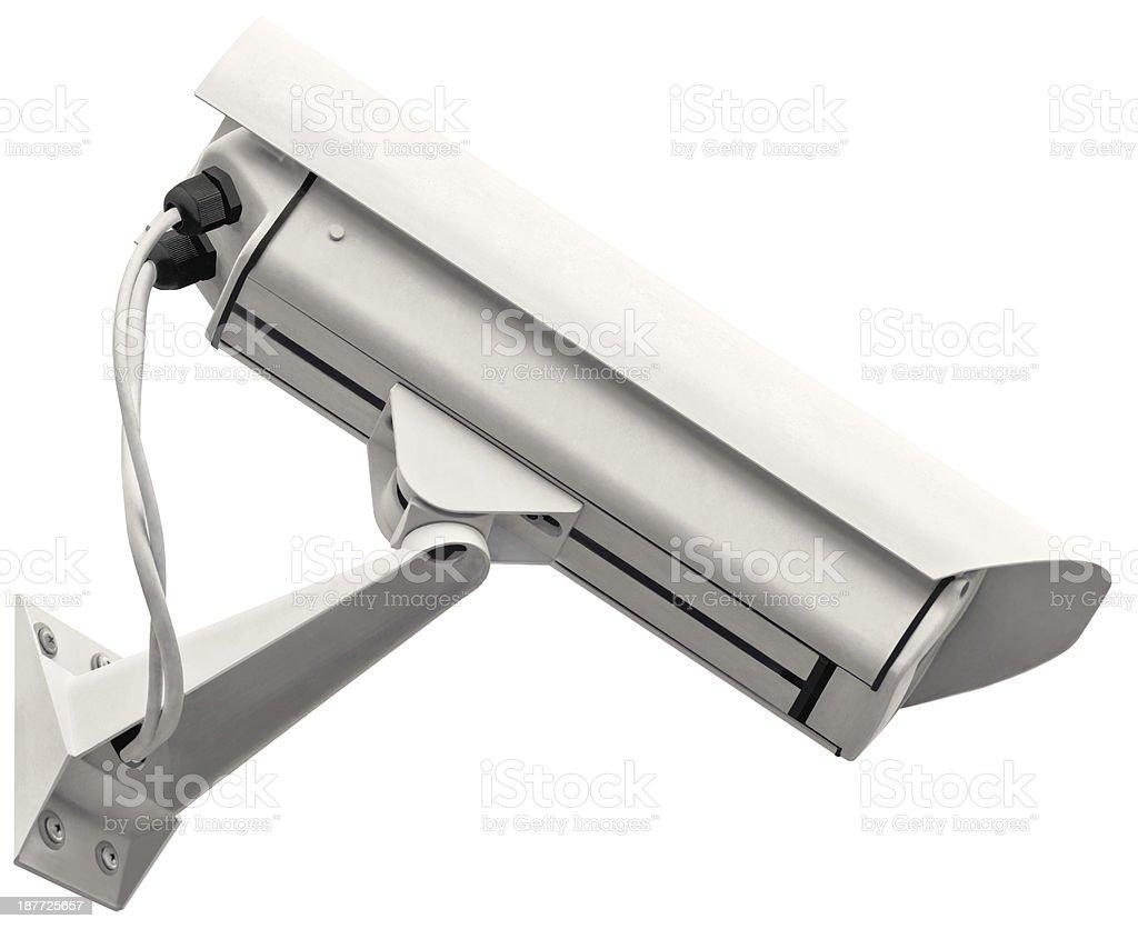 Video surveillance cctv camera, grey isolated large closeup, light gray stock photo