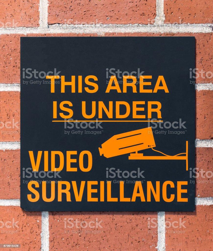 Video Surveillance Sign stock photo