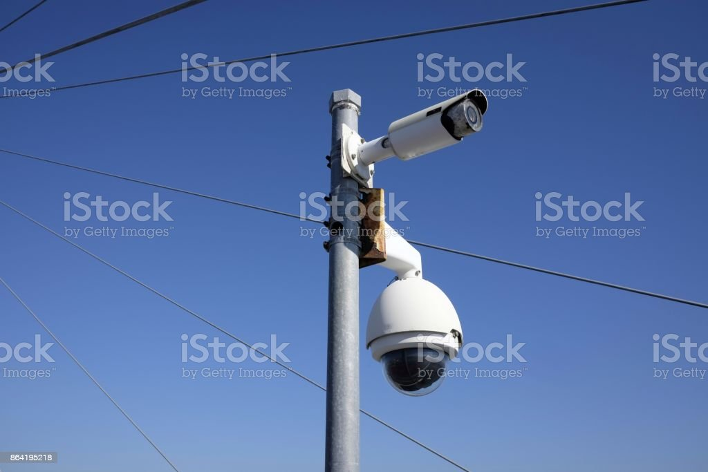 video surveillance system on the bridge royalty-free stock photo