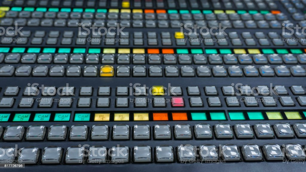 Video Switcher for Tv Control Room with Color Buttons stock photo