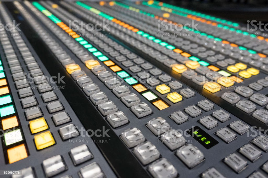 Video switcher with color buttons - No Hands stock photo