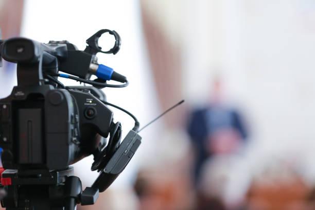 Video television camera film equipment stock photo