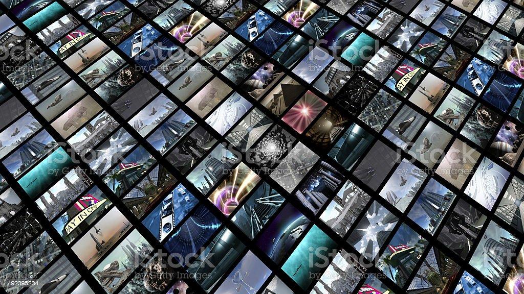 Video wall, diagonally stock photo
