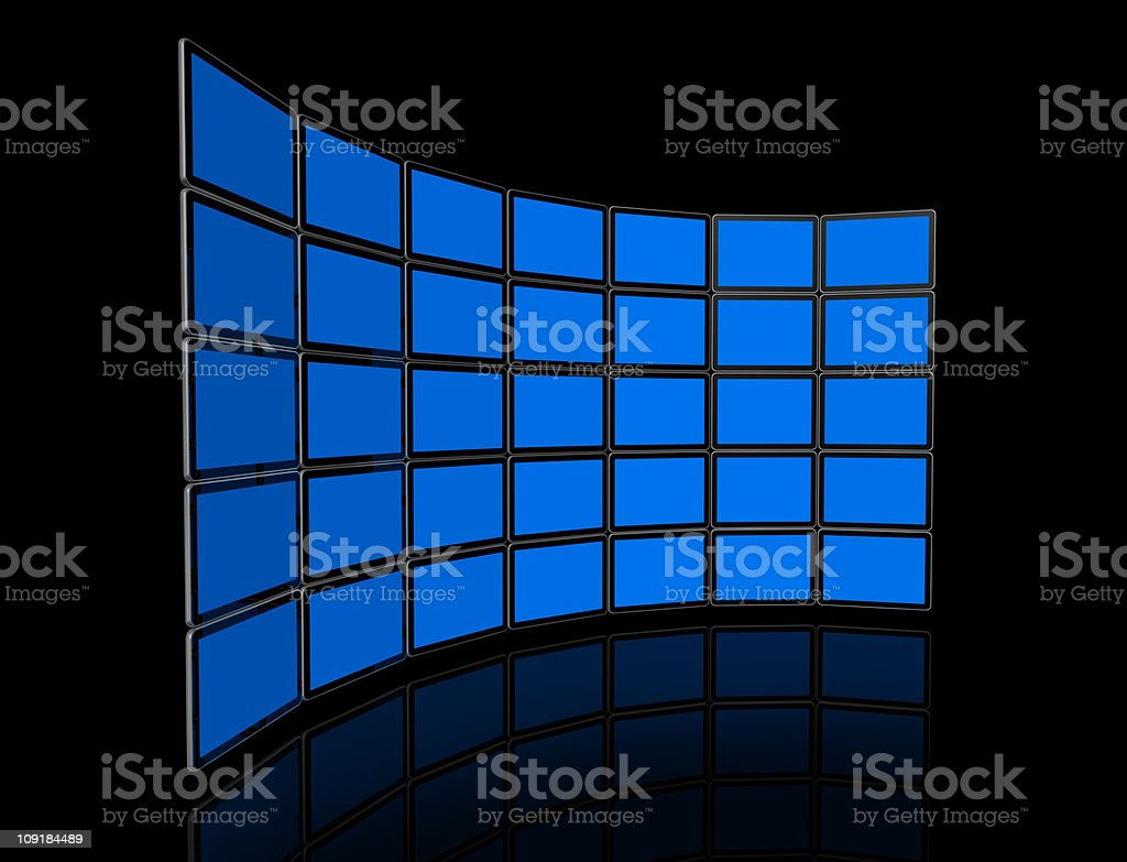 Video wall of flat tv screens royalty-free stock photo