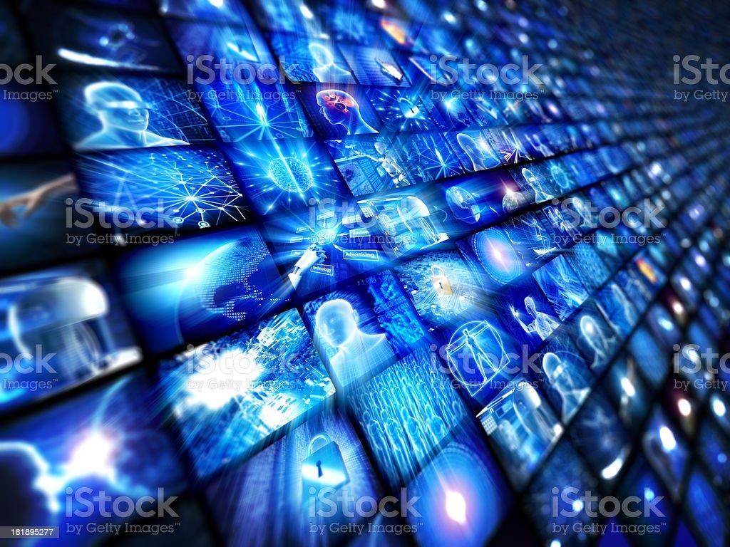 Video wall of hi-tech screens stock photo