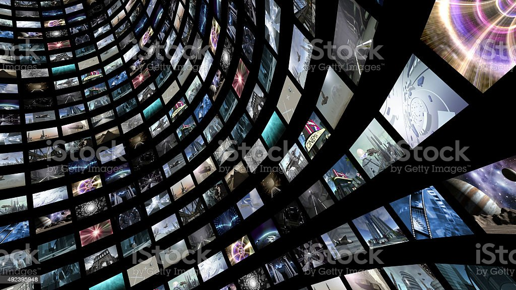 Video wall with many small monitors stock photo