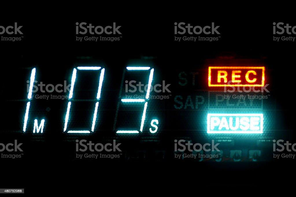VHS Gravador de videocassete Timecode exibindo vezes e faça uma pausa foto royalty-free