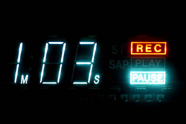 VHS Gravador de videocassete Timecode exibindo vezes e faça uma pausa - foto de acervo