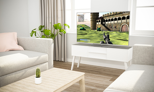 istock videogames television sofa in scandinavian living room 1127330578