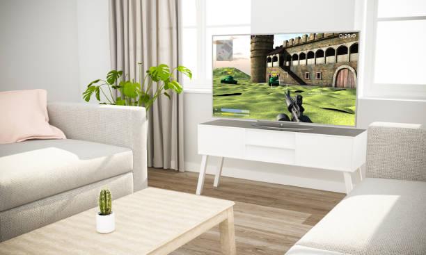videospiele-fernsehen im skandinavischen wohnzimmer sofa - desktop hintergrund hd stock-fotos und bilder