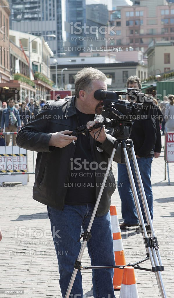 Videographer at Pike Place royalty-free stock photo