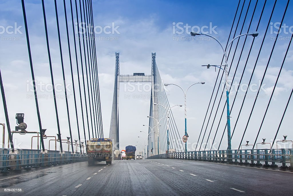 Vidyasagar Setu, longest cable - stayed bridge in India stock photo
