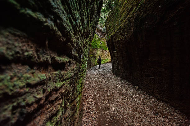 Vie cave - Tuscany, Italy Vie cave, hollowed by Etruscan tuff stock pictures, royalty-free photos & images