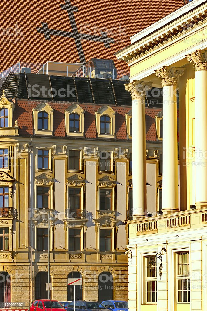 Vie on some monuments (Opera) in Wroclaw, Poland royalty-free stock photo