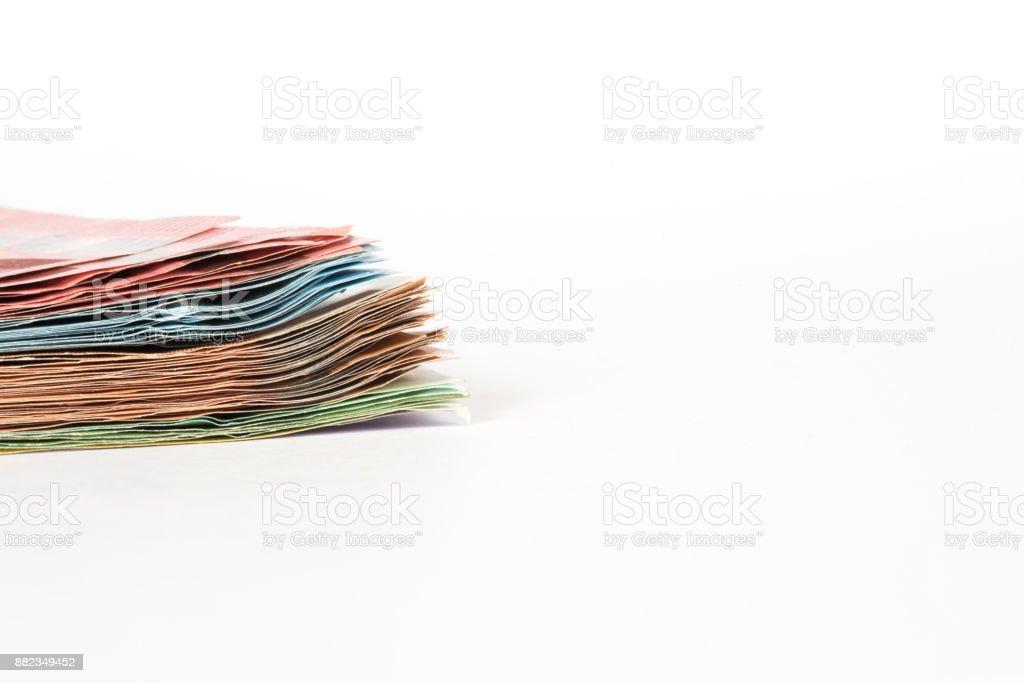Viele Euro Geldscheine auf hellem Hintergrund stock photo