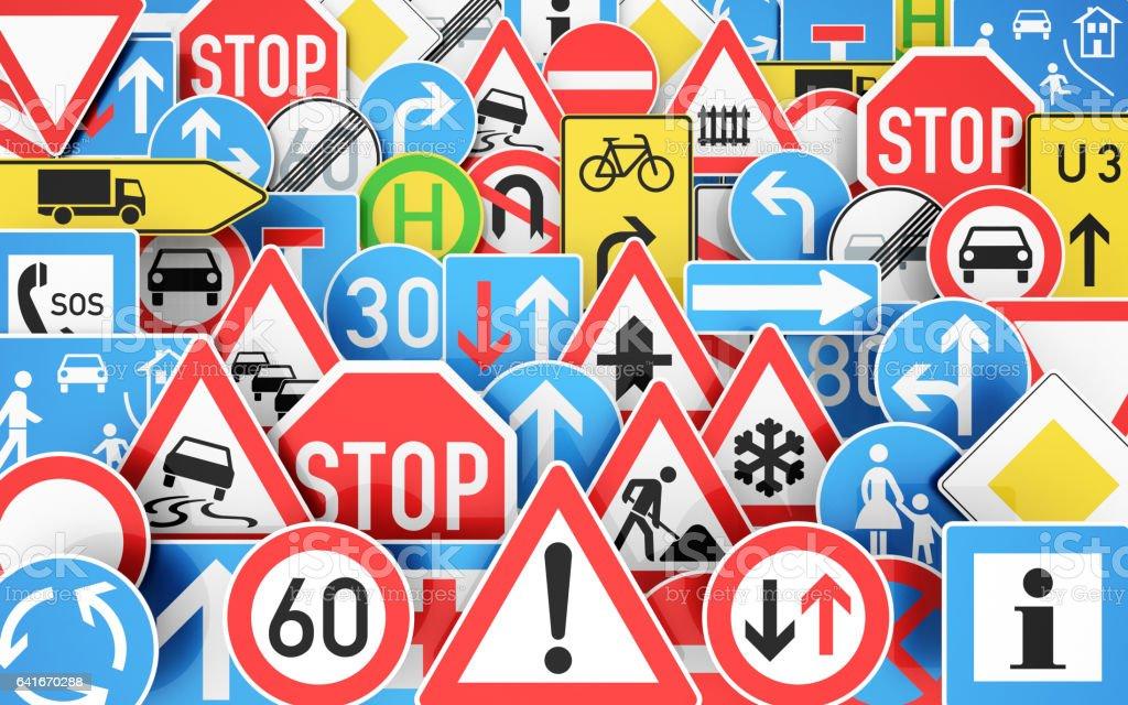 Viele Verkehrsschilder stock photo