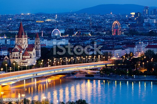 Vienna, aerial view at night, with danube and cityscape