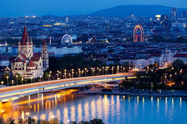vienna, aerial view at night - vienna stock photos and pictures