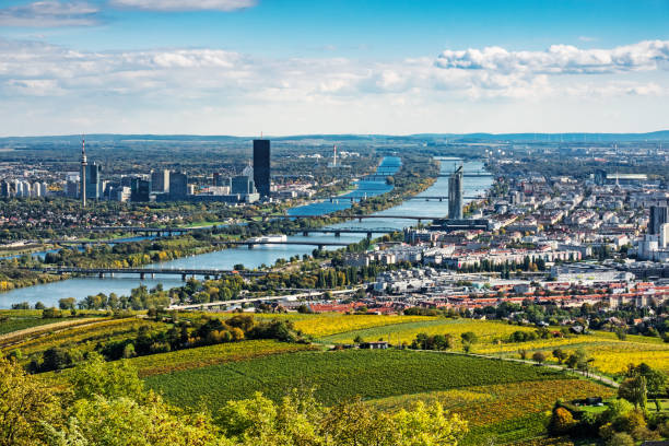 Vienna Aerial View In Autumn stock photo