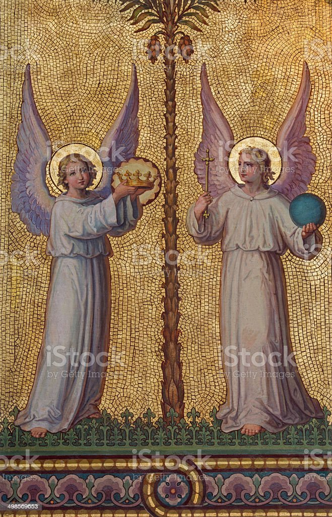 Vienna - Angels fresco in Carmelites church stock photo