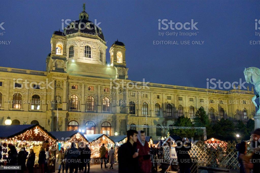 Vienna at Christmas, the Kunsthistorisches Museum in Maria-Theresien-Platz - Austria stock photo