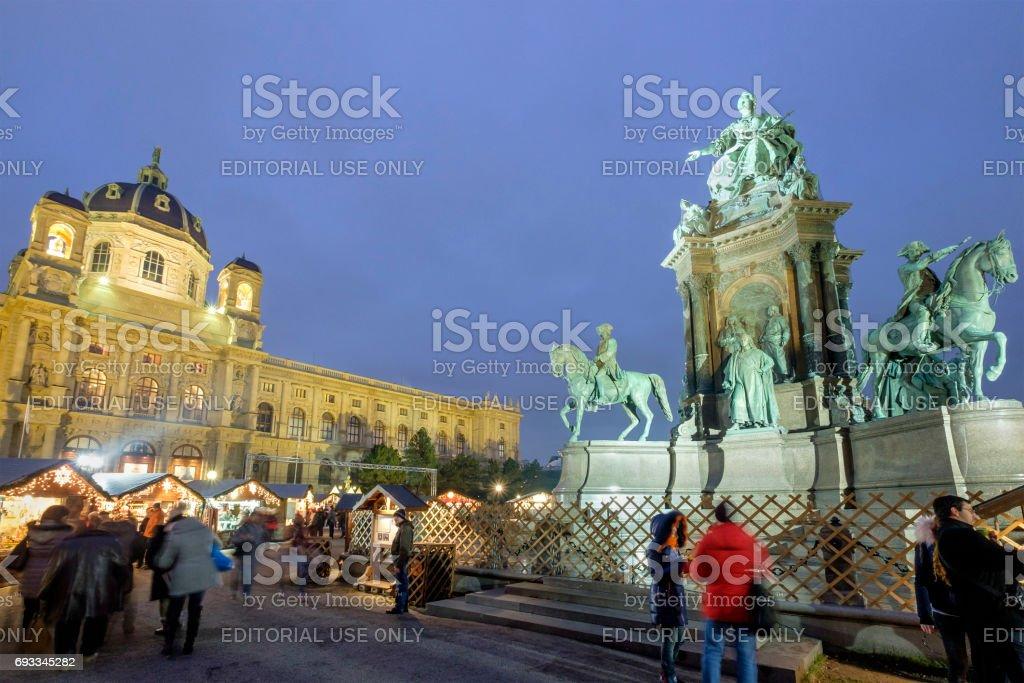 Vienna at Christmas, the Maria-Theresien-Platz - Austria stock photo