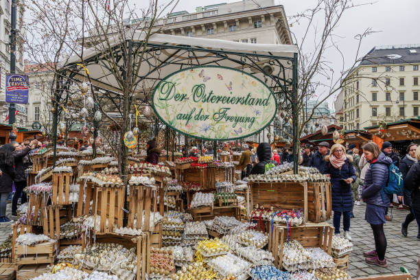 Vienna, Austria - April 14 2019: Easter Market Altwiener Freyung Ostermarkt. Wien, Osterreich street market, where local vendors from Austrian regions sell decorative Easter eggs, food & drinks. stock photo