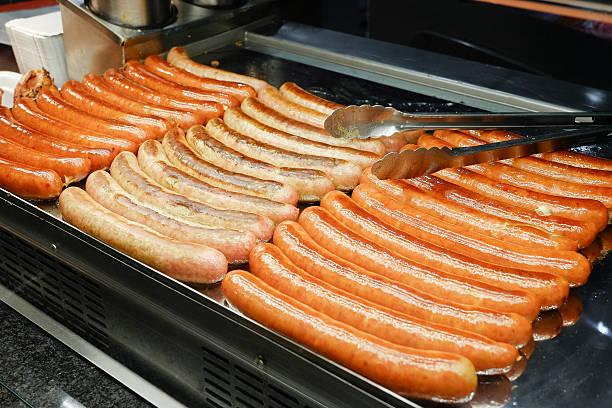 """vienna - austria, close-up of sausages on the famous """"naschmarkt"""" - naschmarkt stock-fotos und bilder"""