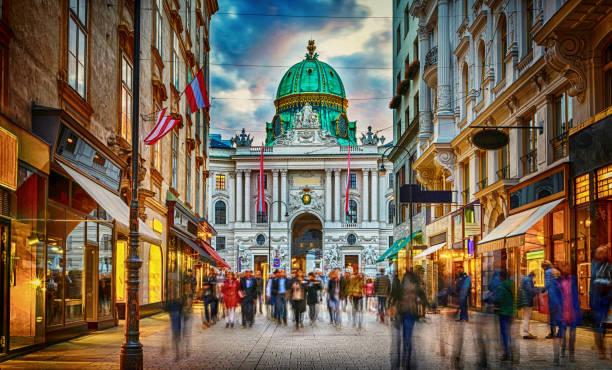 Vienna, Austria. Hofburg Palace seen from Michaelerplatz. stock photo