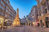 istock Vienna Austria night city skyline at Vienna Plague column or Pestsaule 1277711380