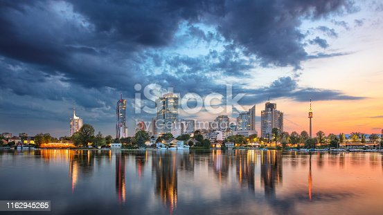 Panoramic cityscape image of Vienna capital city of Austria during sunset.
