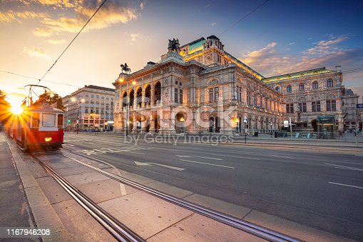 Cityscape image of Vienna with the Vienna State Opera during sunset.