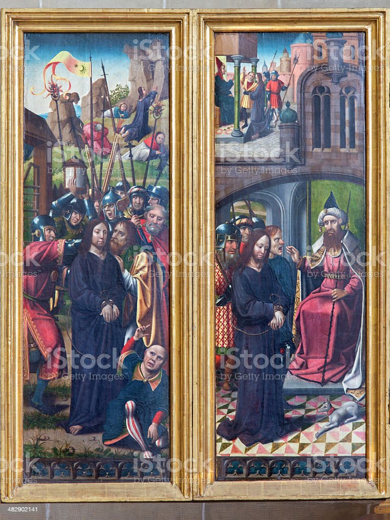 Vienna - Betray of Jesus panel in Teutonic Order church. stock photo