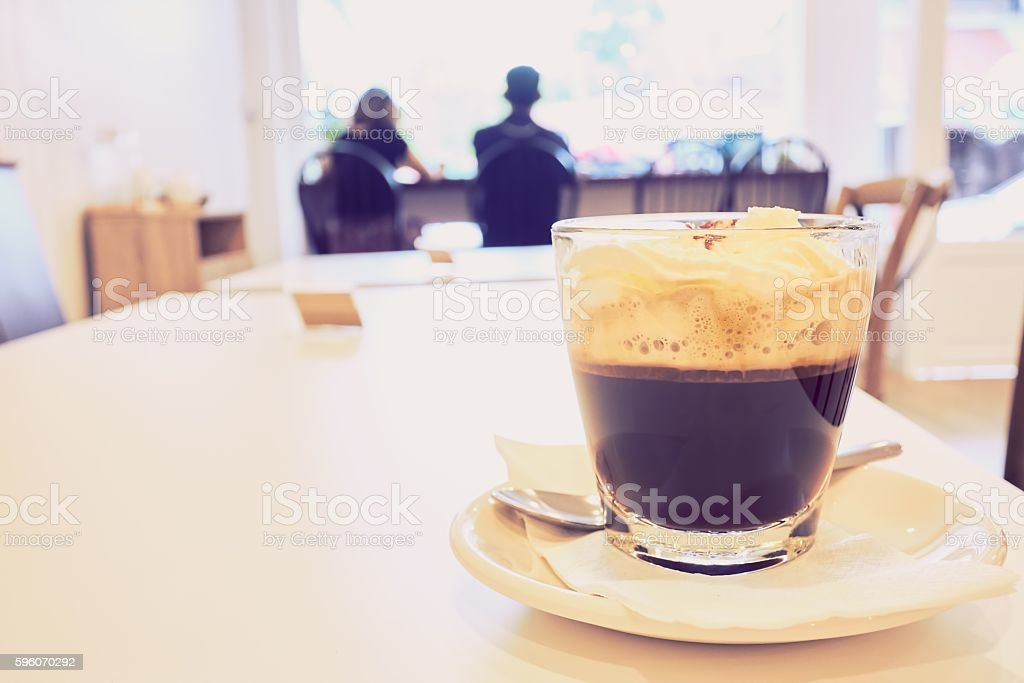 Vienna black coffee in cafe with vintage filter royalty-free stock photo