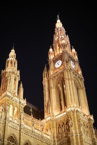 Vienna's City Hall at night - Rathause