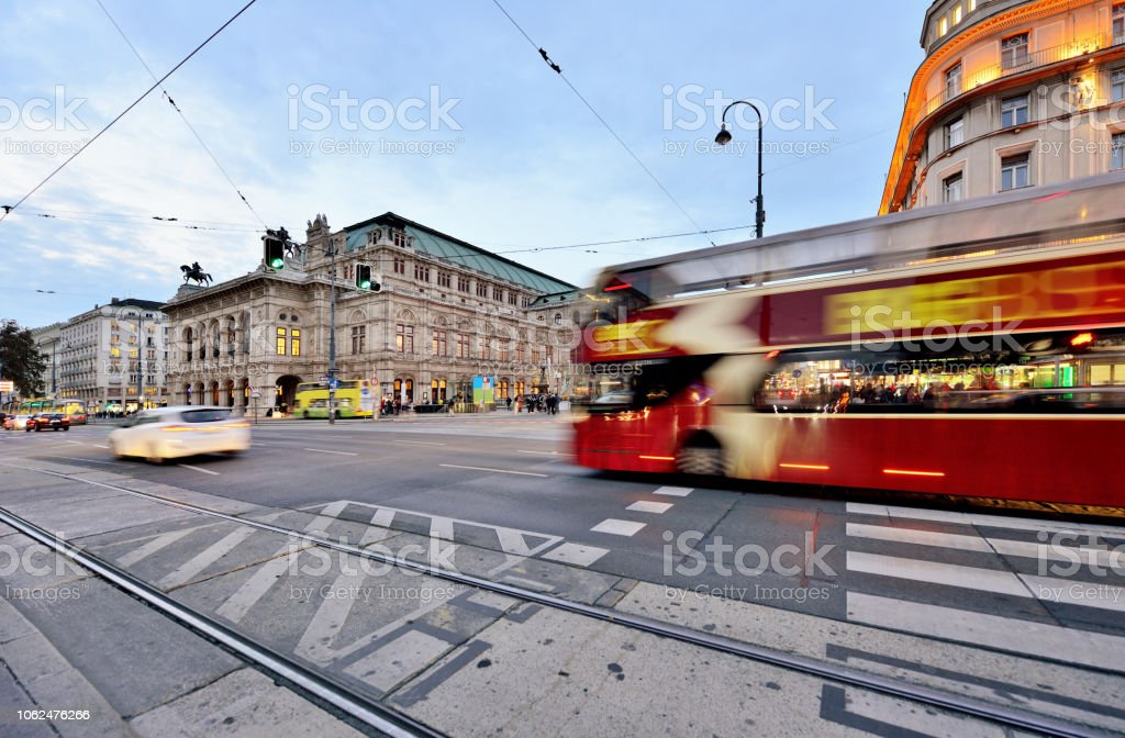 Vienna Cityscape and Street View at Sunset, Vienna, Austria stock photo