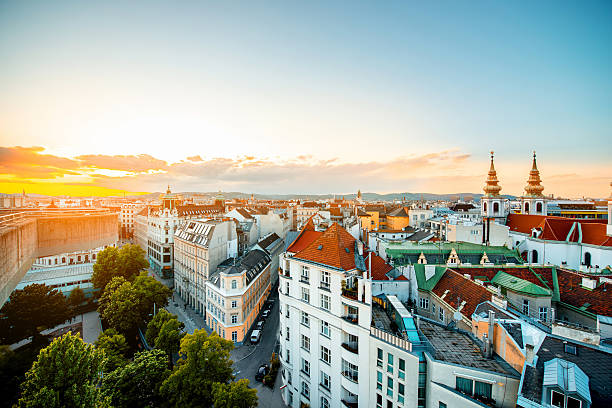 vienna cityscape in austria - vienna stock photos and pictures
