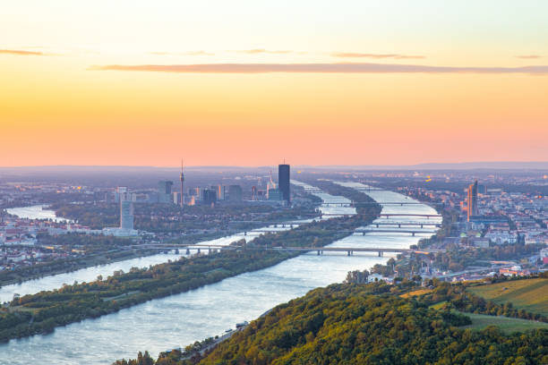 Vienna cityscape view during sunrise. Capital city of Austria in Europe. stock photo