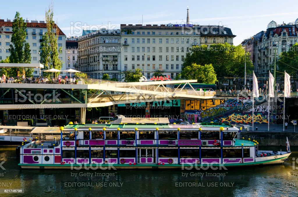 Vienna, Danube Channel with boat stock photo