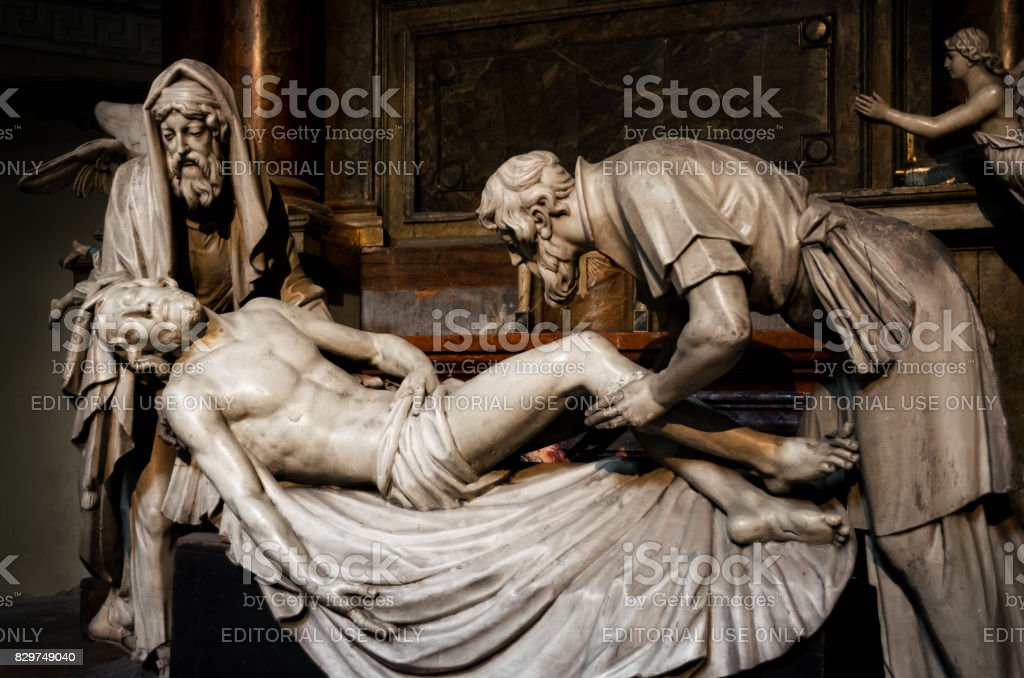 Vienna, Deposition sculpture in Michaelerkirche stock photo