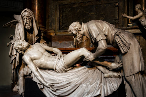 vienna, deposition sculpture in michaelerkirche - deposition stock pictures, royalty-free photos & images