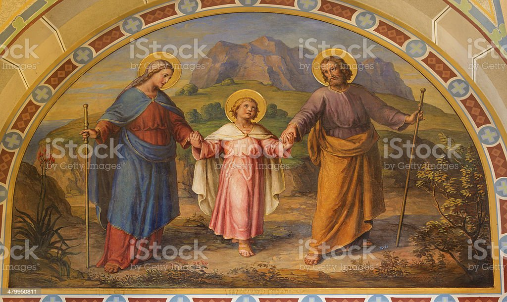 Vienna - Fresco of Holy Family  in Carmelites church stock photo